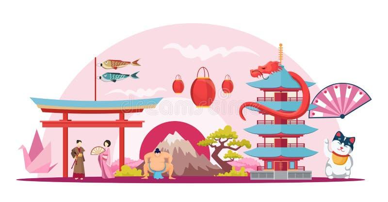 Japanese symbols flat vector illustration бесплатная иллюстрация