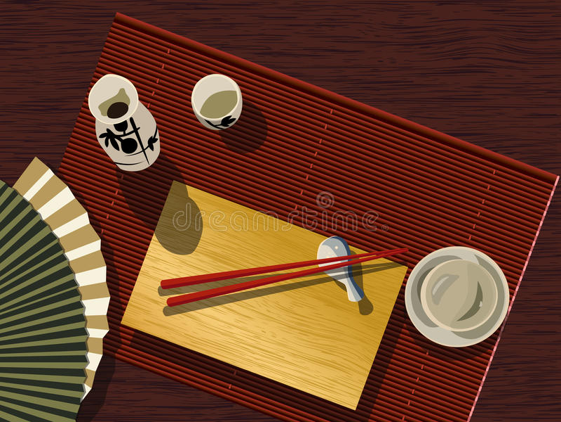 Japanese table set stock vector. Illustration of eating - 13591986