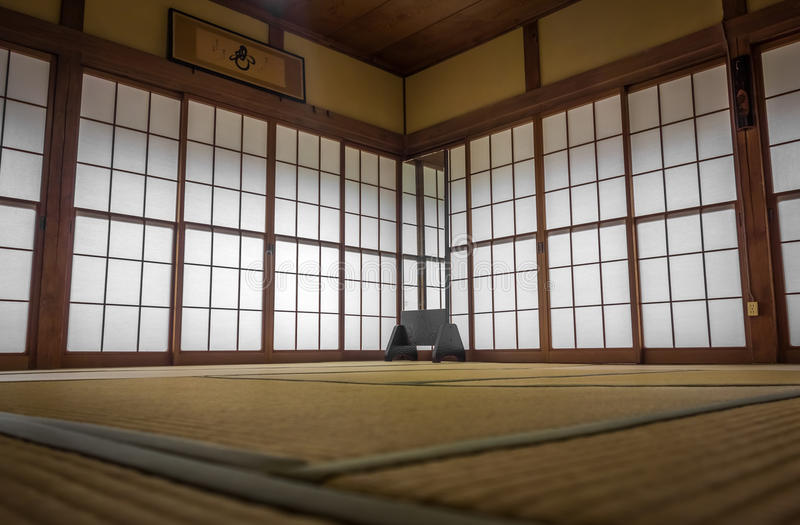 Japanese tatami mats and sliding doors royalty free stock images