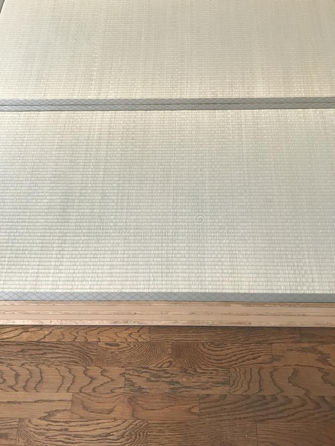 Japanese tatami & western wooden floor texture royalty free stock images
