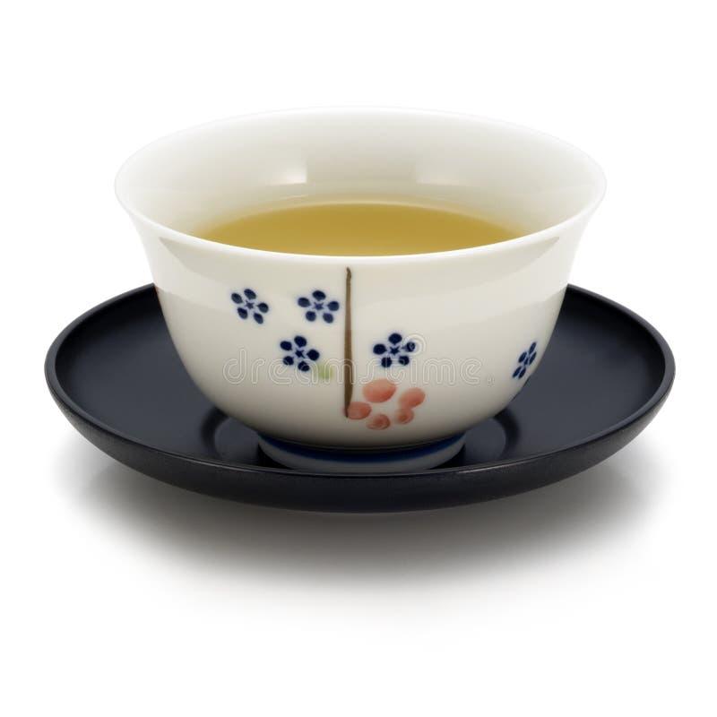 Japanese tea. Japanese green tea on white background royalty free stock image