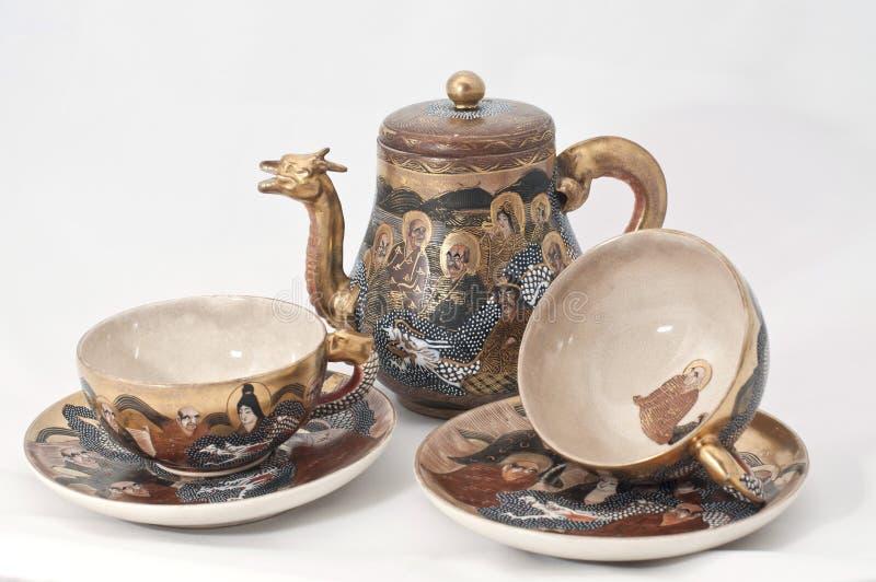 Japanese tea set. Old Japanese set for tea ceremony royalty free stock photography