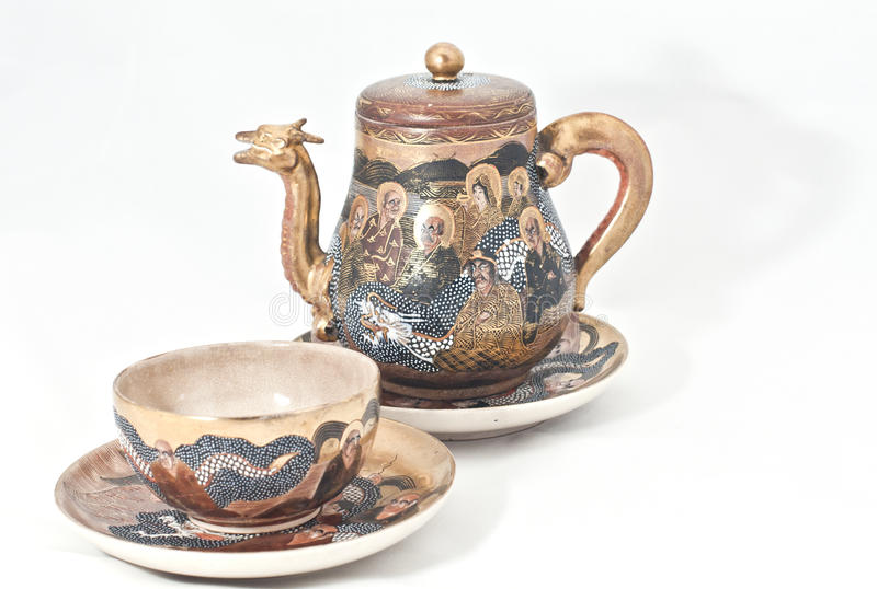 Japanese tea set. Old Japanese set for tea ceremony stock photography