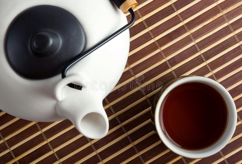 Download Japanese Teapot And Teacup On Bamboo Mat Stock Photo - Image: 11487500