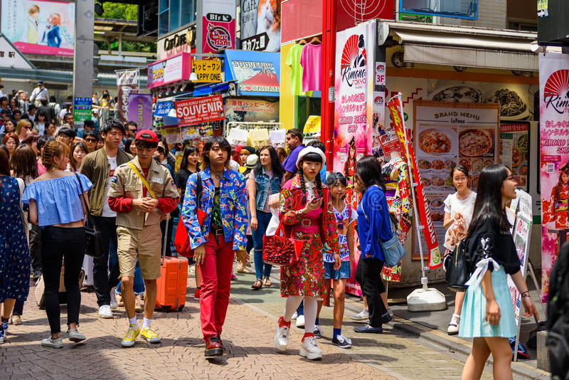 Japanese teenagers at Harajuku. TOKYO, JAPAN - MAY 7, 2017: Unidentified Japanese teenagers with unique contumes at Takeshita street in Harajuku, famous of stock image