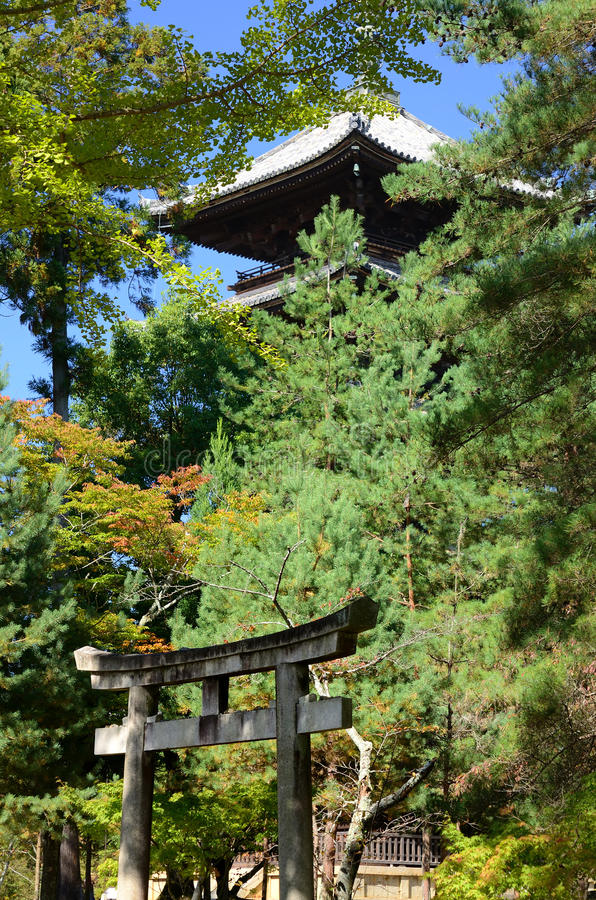 Japanese temple's gate and pagoda, Kyoto Japan. Torii gate and five story pagoda of Ninnaji temple in Kyoto Japan stock photos