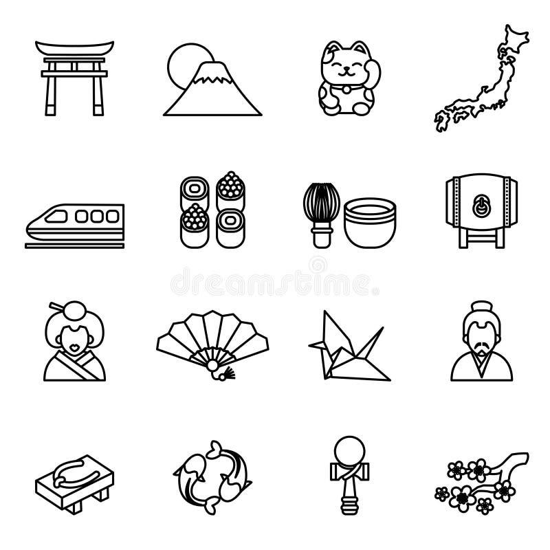 Japanese theme icon set. Thin Line Style stock vector. stock illustration