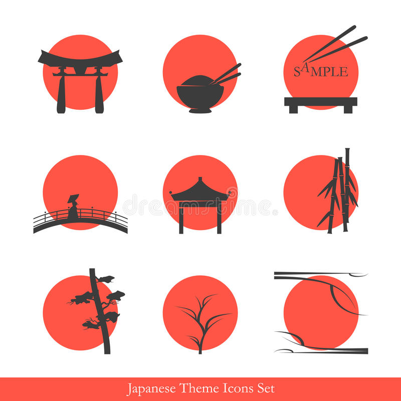 Japanese theme icons set vector illustration