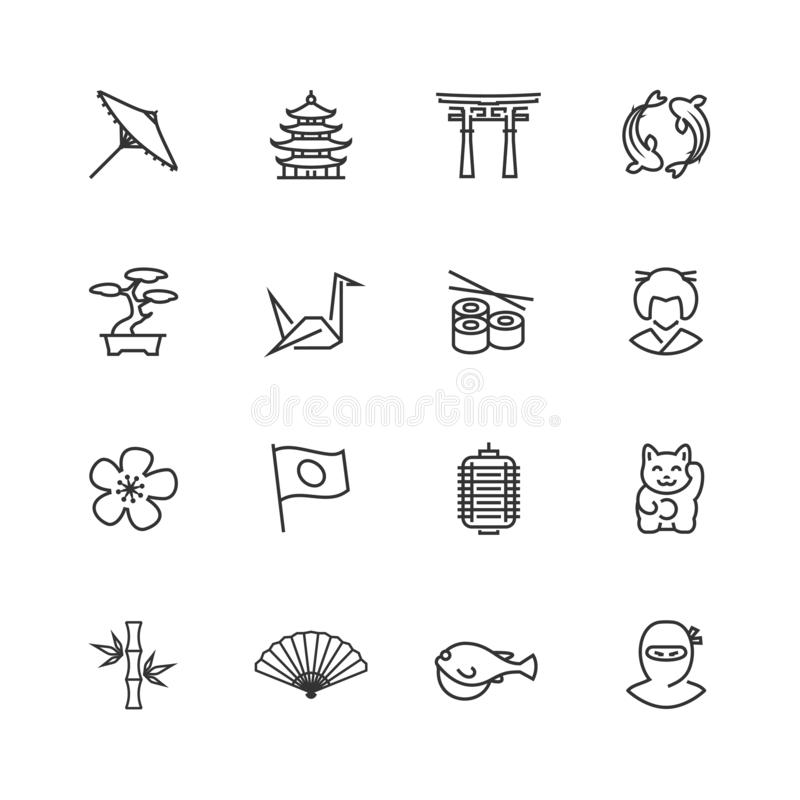 Japanese Theme Vector Icons in Thin Line Style stock illustration