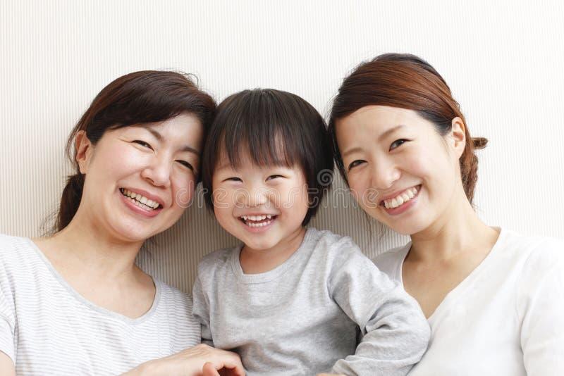Japanese three generation family, stock images