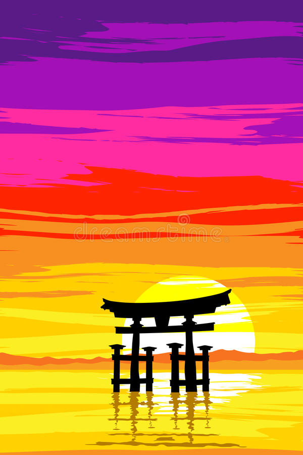 Japanese Tori Gate by the Lake at Sunrise. EPS10 Vector. Silhouette of a Japanese tori gate at sunrise. Inspired by the gate at Miyajima Island in the South West vector illustration