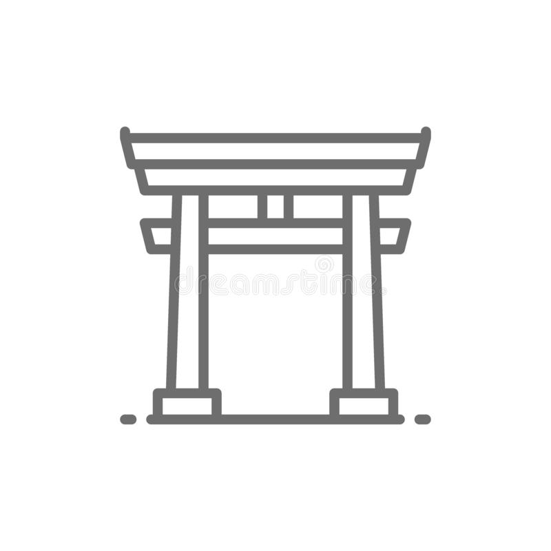 Japanese Torii gate line icon. stock illustration