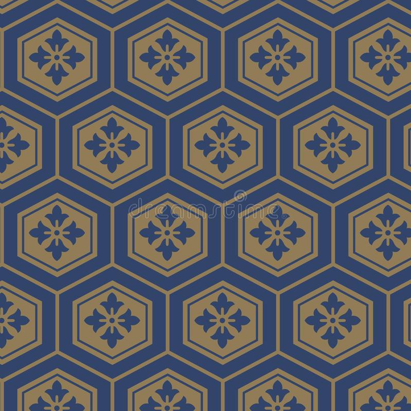 Japanese tortoise shell pattern. Japanese vintage tortoise shell pattern in white and gold colors vector illustration