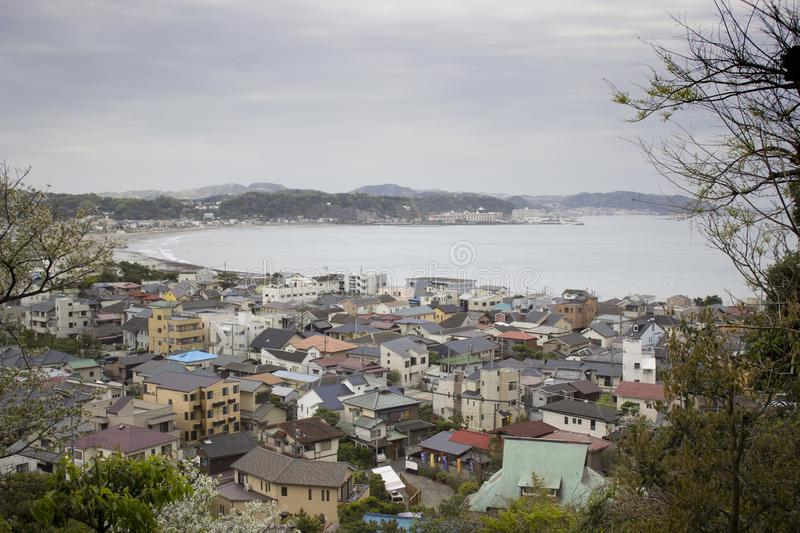 Japanese Town by the Sea stock photo