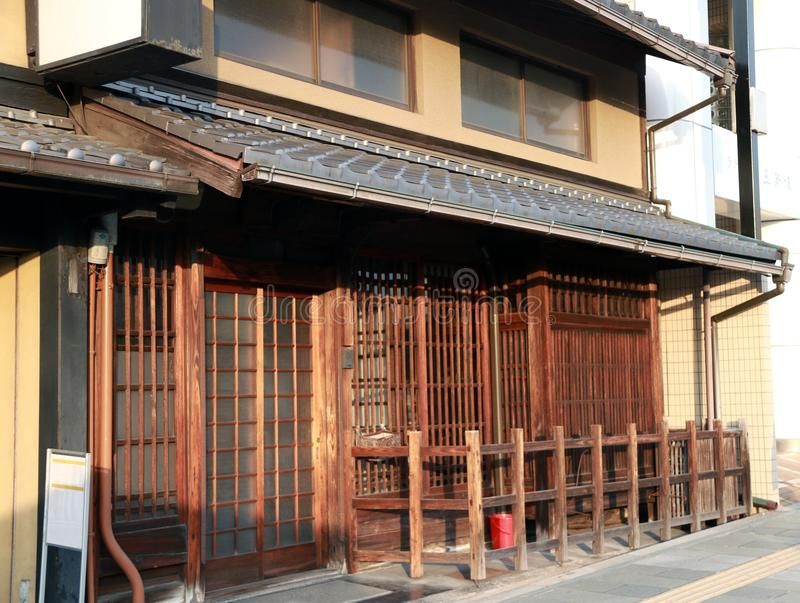 Japanese tradition wooden house in the city. royalty free stock photo