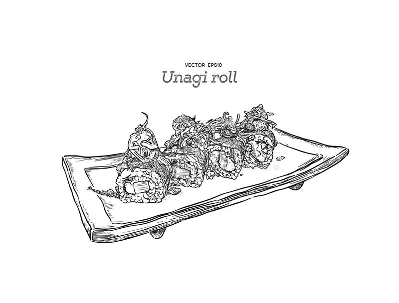 Japanese traditional food, Unagi roll sushi. vector royalty free illustration