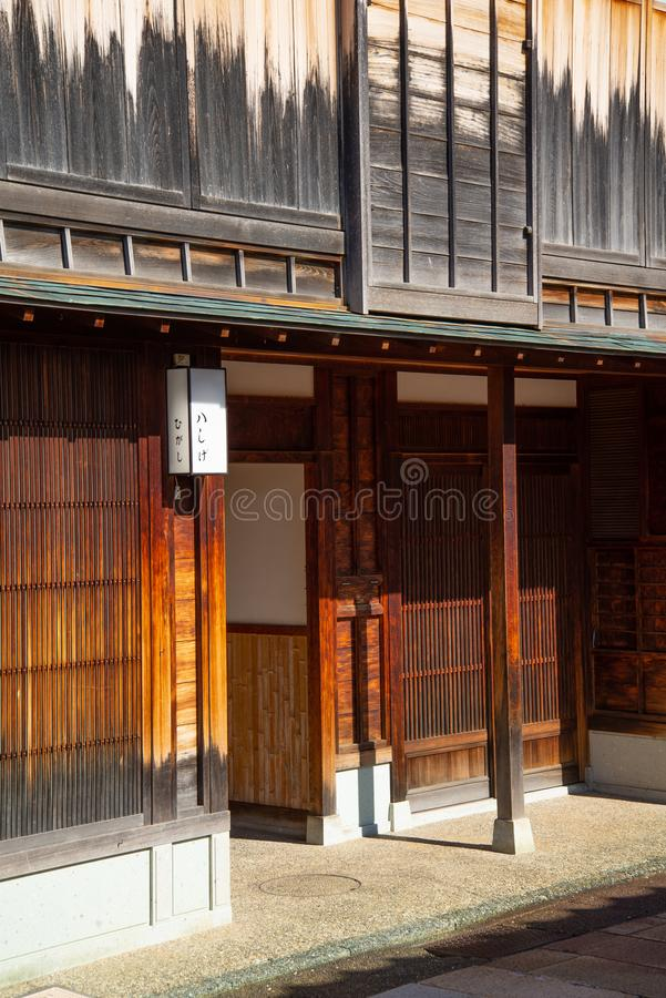 Japanese style. old traditional house wooden wall and house entrance. Japanese traditional house wooden architecture. External wall and main entrance. Japan stock images