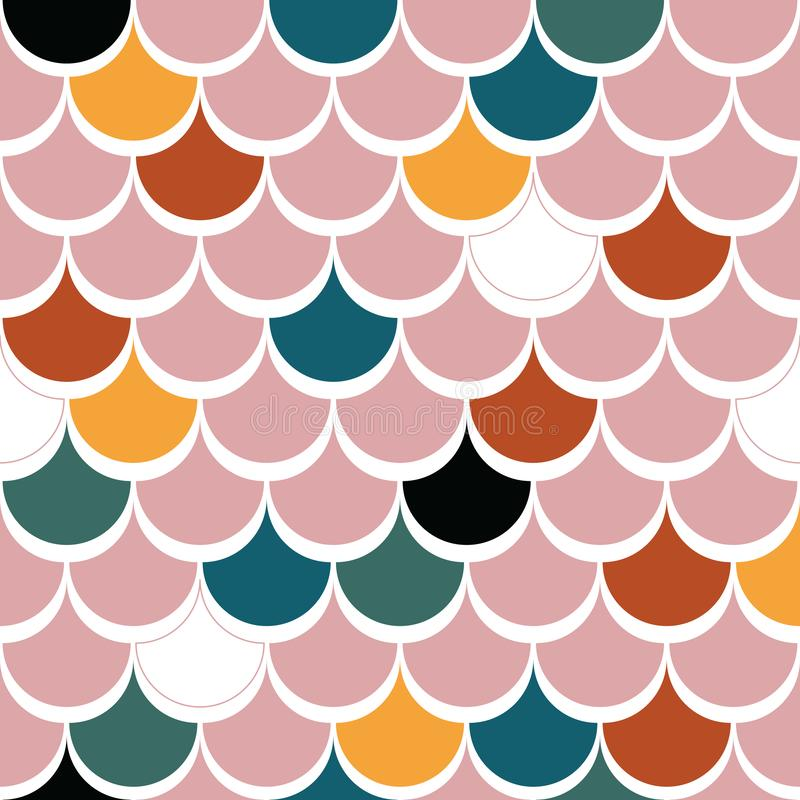 Japanese traditional multicolored fish scales pink red yellow green black blue seamless pattern stock illustration