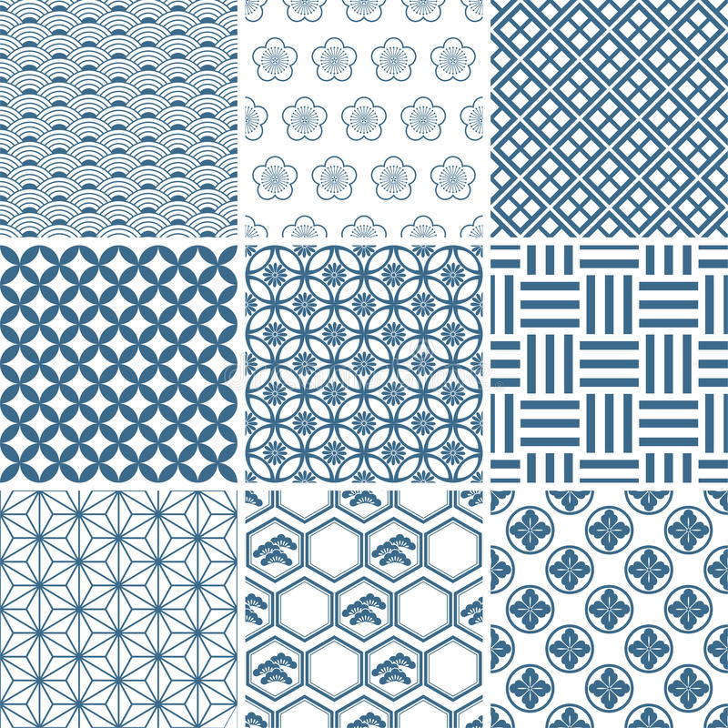 Japanese traditional pattern set royalty free illustration