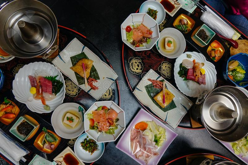 Japanese traditional set meal for dinner royalty free stock photos