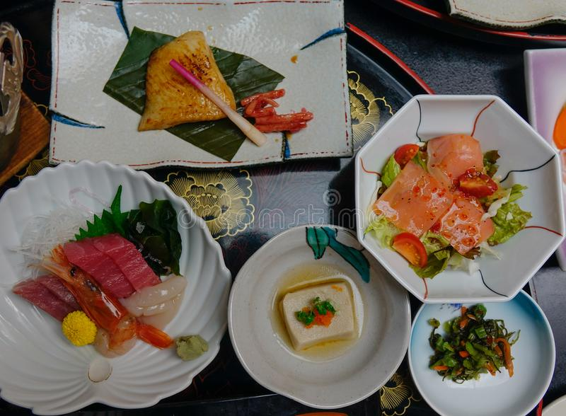 Japanese traditional set meal for dinner stock images