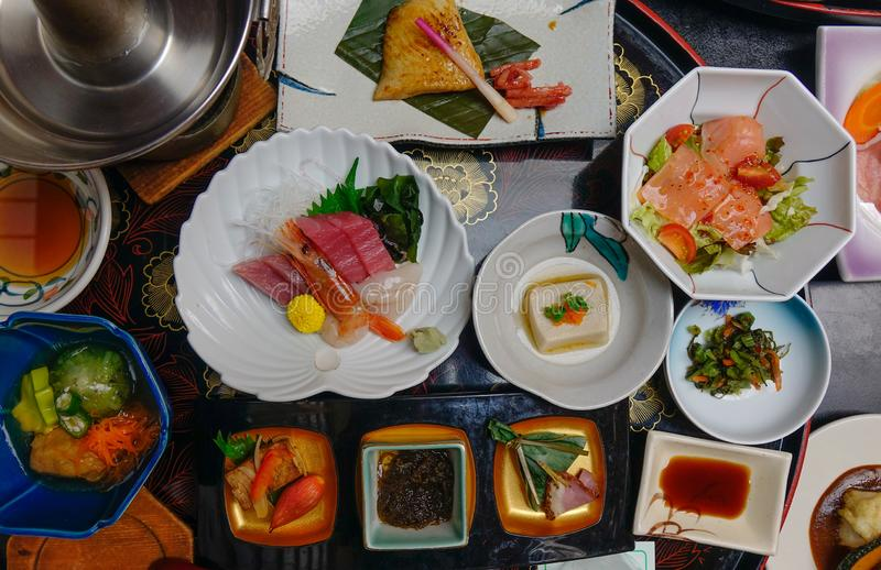 Japanese traditional set meal for dinner stock image
