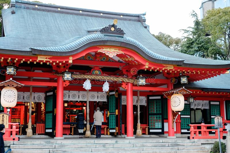 Japanese traditional temple with golden red roof in Kyoto, Japan. Japanese traditional temple with golden red roof under blue sky in Kyoto, Japan royalty free stock photo