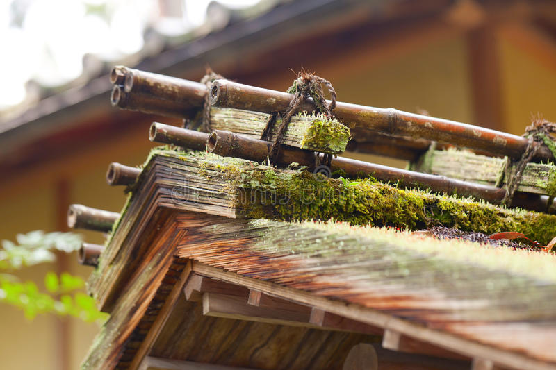 Japanese traditional thatch roof house. Detail stock photo