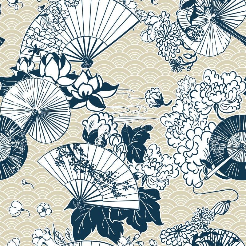Japanese traditional vector illustration fun pattern peony sakura stock images