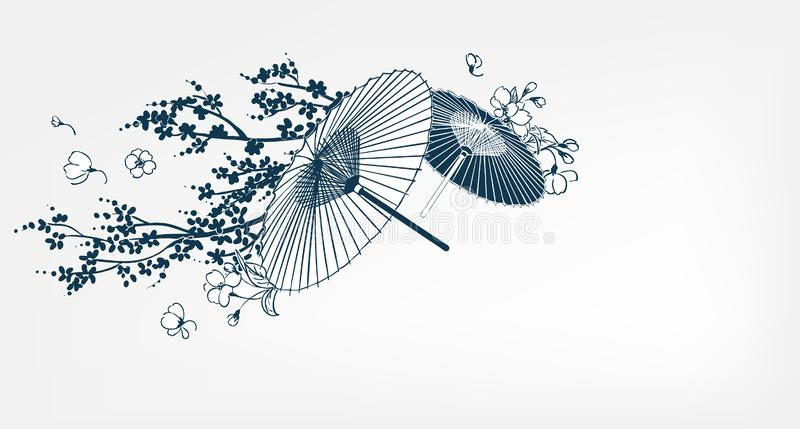 Japanese traditional vector illustration umbrella sakura card background royalty free illustration