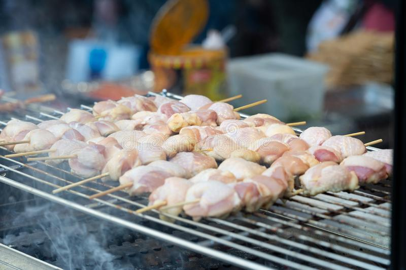 Japanese traditional yakitori, chicken grilled as the famous royalty free stock photos