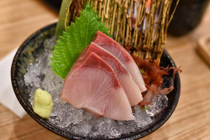 Japanese traditionally food, Delicious fresh otoro tuna fish sashimi seafood. royalty free stock images