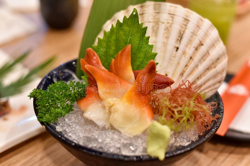 Japanese traditionally food, Delicious fresh sashimi seafood. Japanese traditionally food, Delicious fresh sashimi seafood, Akagi cockles shell, Healthy raw royalty free stock photo