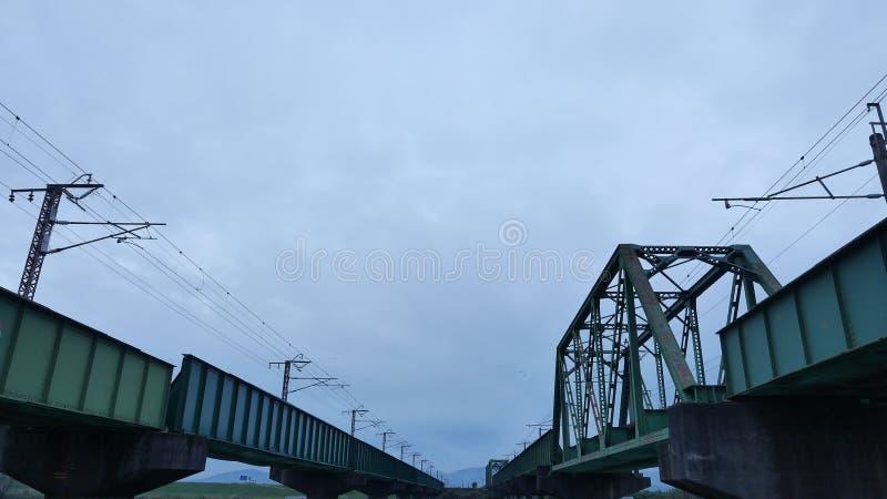 Japanese Train track. Bridge over train tracks in Japan royalty free stock photos