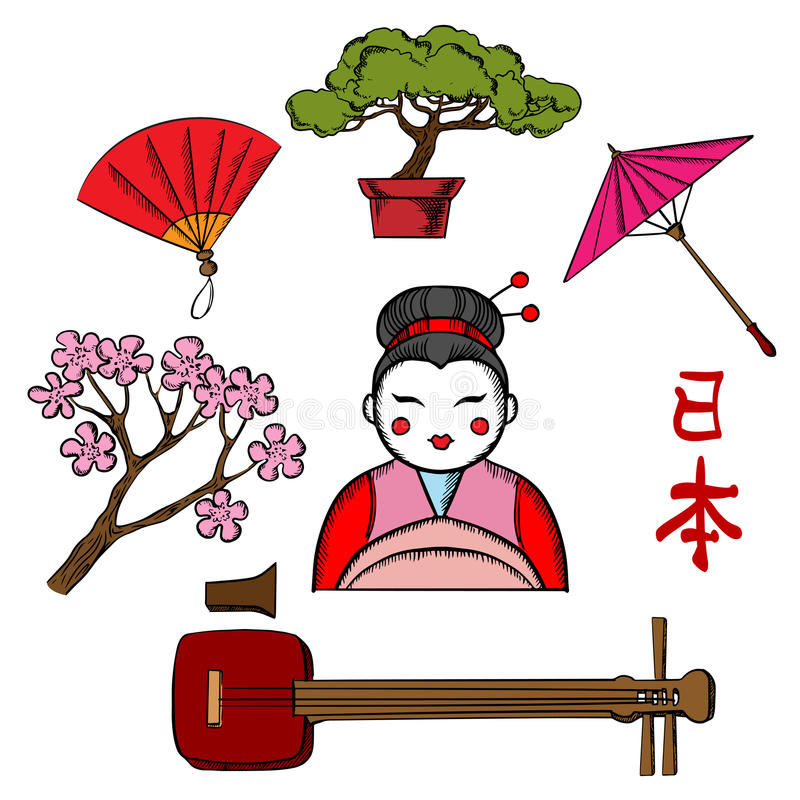 Japanese travel and culture icons stock illustration