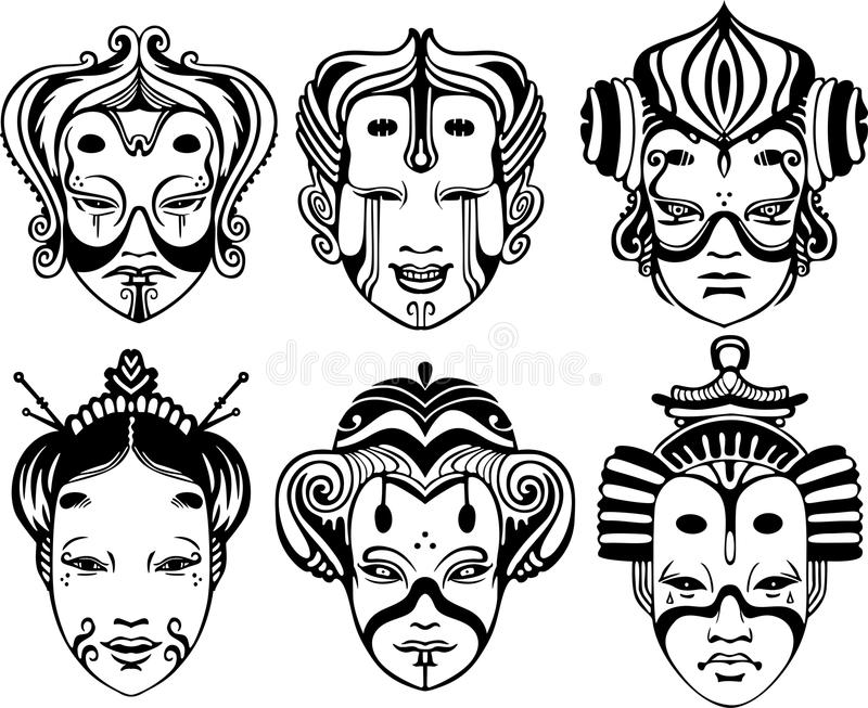 Japanese Tsure Noh Theatrical Masks. Set of black and white vector illustrations vector illustration