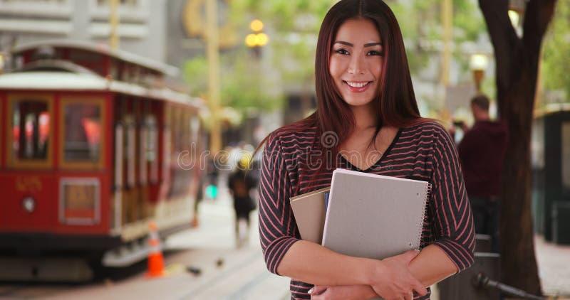 Japanese university student smiling at camera stock photos