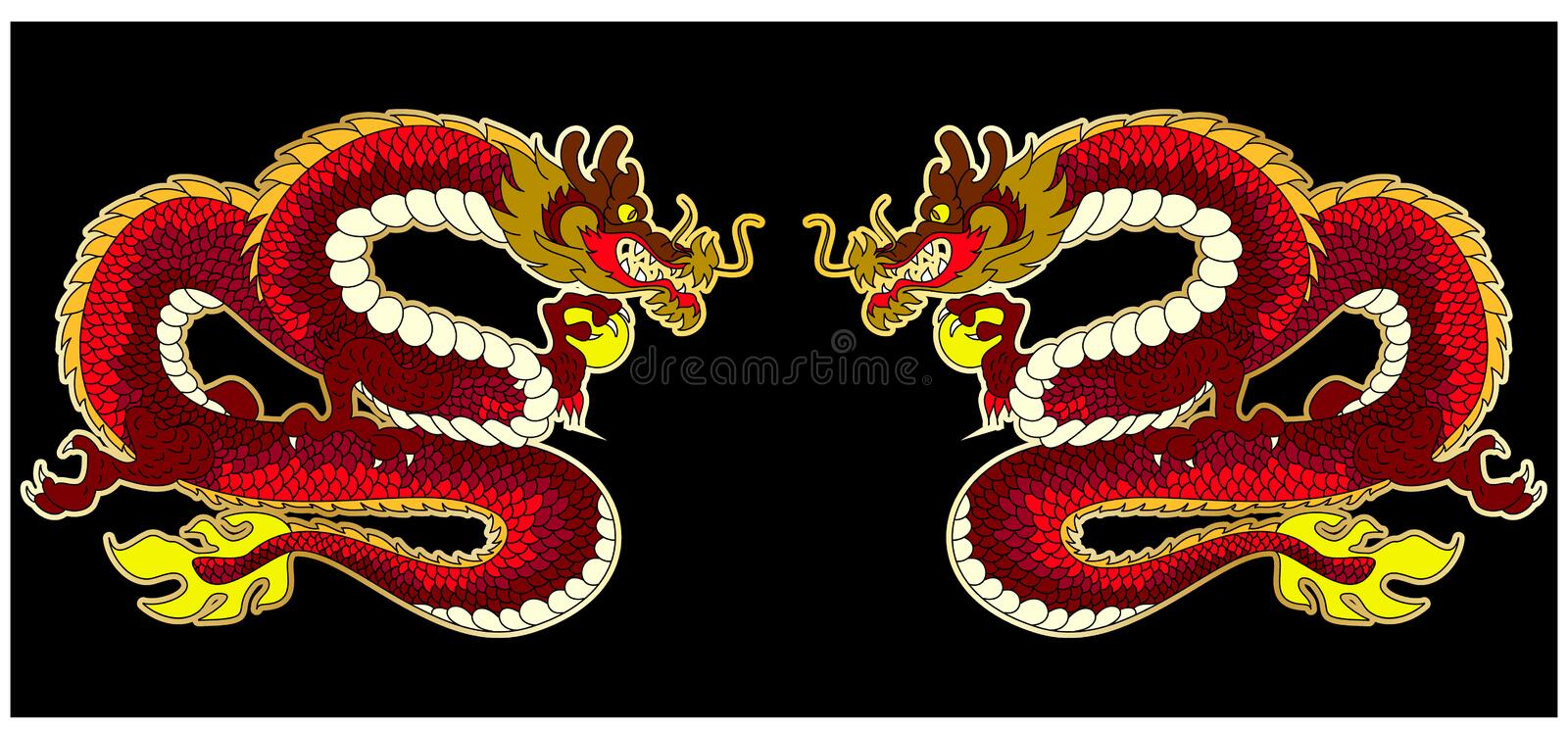 Traditional Japan set vector for backdrop on background. Japanese vector on background.Chinese dragon for sticker printing on board and screen shirt on stock illustration