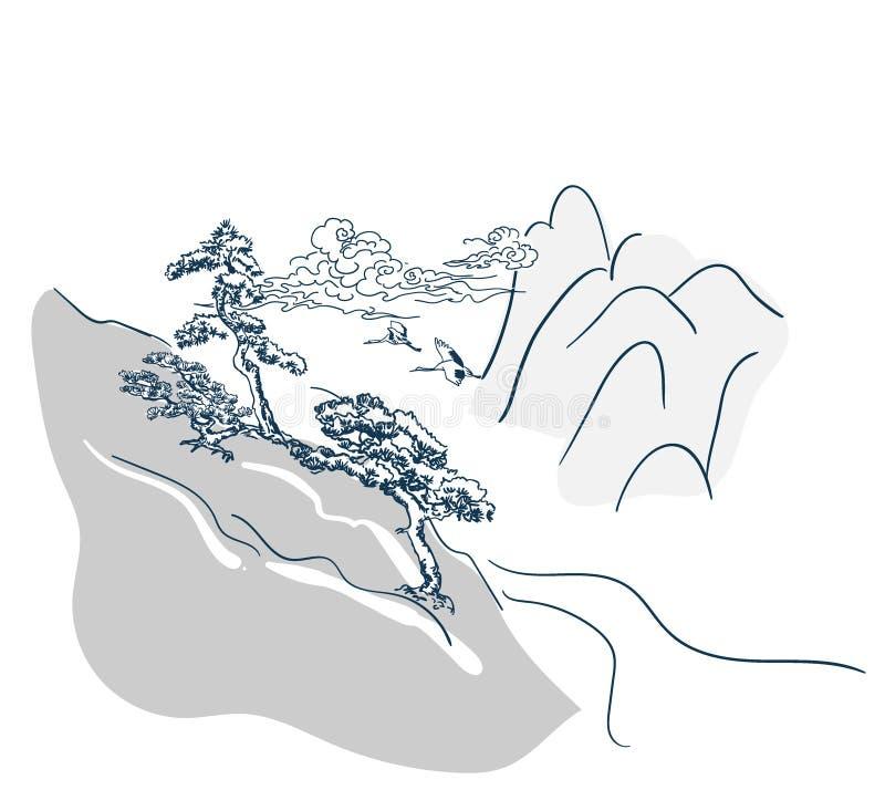 Japanese vector landscape background chinese card royalty free illustration