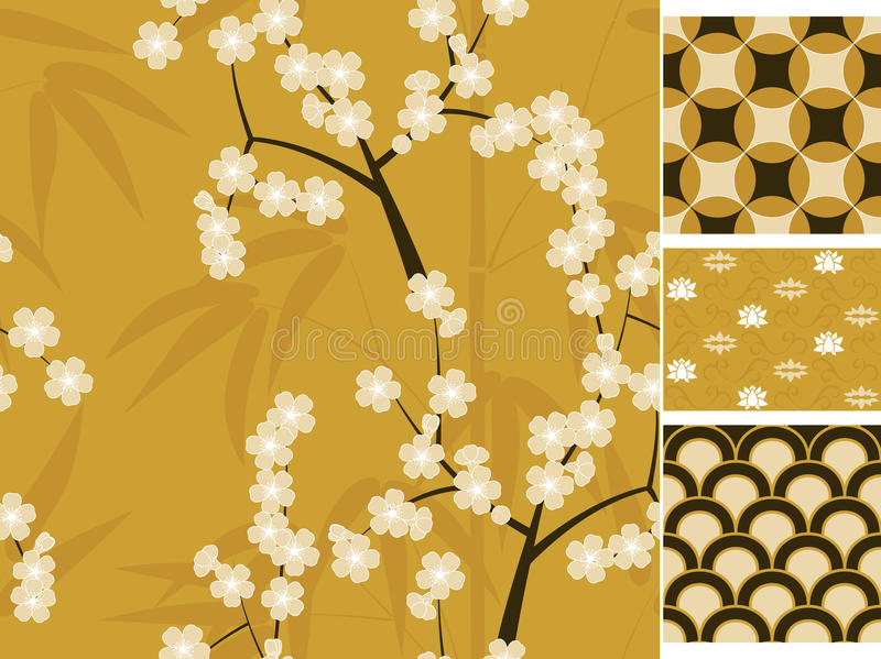 Japanese vector seamless patterns set with bamboo, sakura and traditional ornaments illustration stock illustration