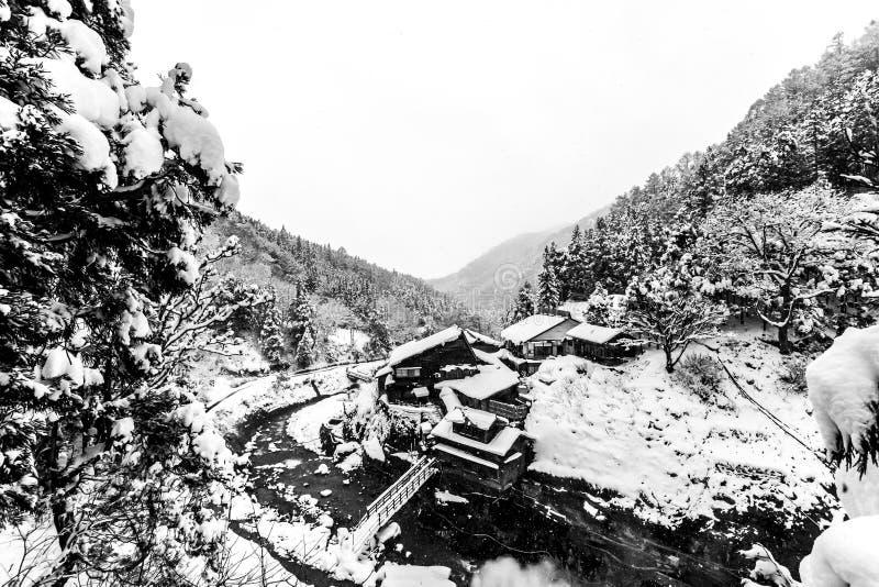 Japanese village Yudanaka in winter, Nagano Prefecture, Japan. Winter day royalty free stock photo