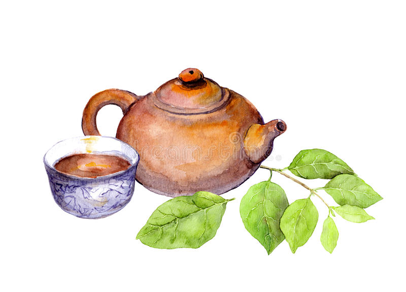 Japanese vintage teapot, tea cup and green leaves. Watercolor vector illustration