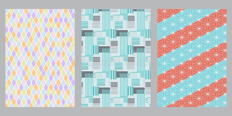 Japanese vivid diamond stripe, blue stripe, hemp leaf abstract background 向量例证