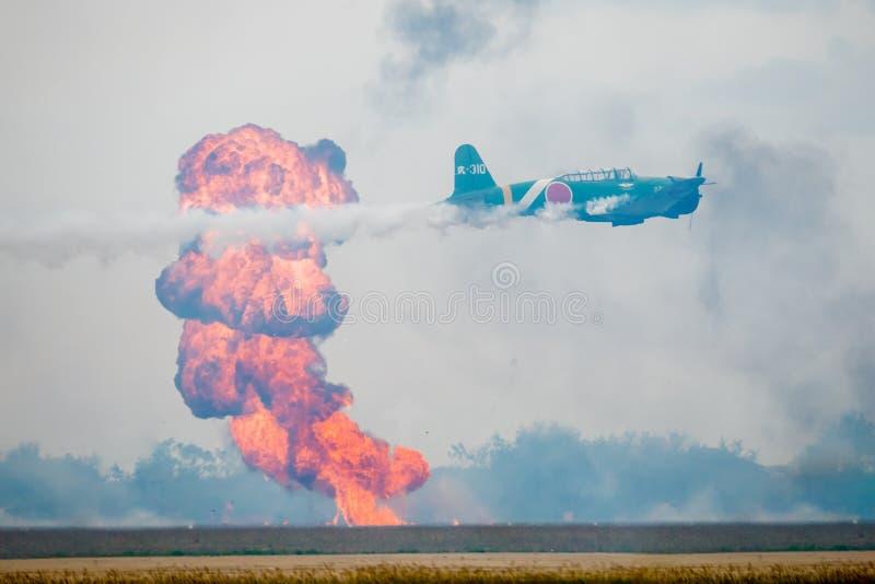 Japanese War Plane Bombing a Target royalty free stock photography