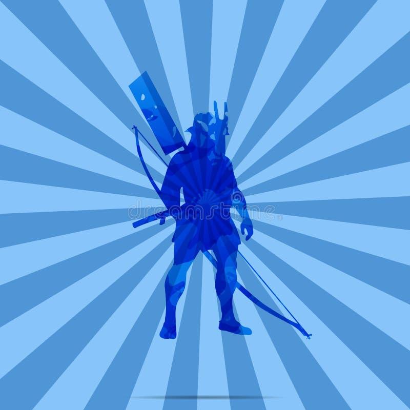 A Japanese Warrior, Archer, Samurai.  royalty free illustration