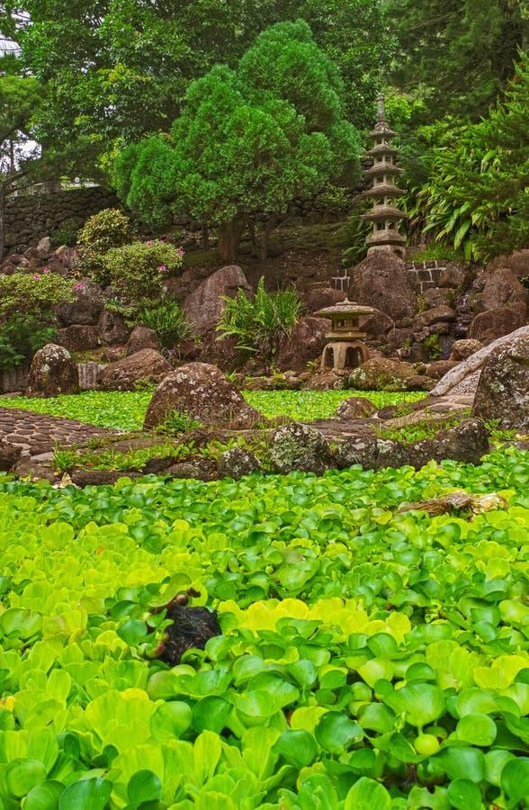 Japanese Water Garden Kepaniwai Park Maui, Hawaii. Serene and peaceful Japanese water garden with stone sculptures and bridge in Maui Hawaii royalty free stock photo