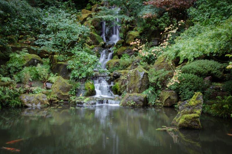 Japanese Water Garden Waterfall stock image