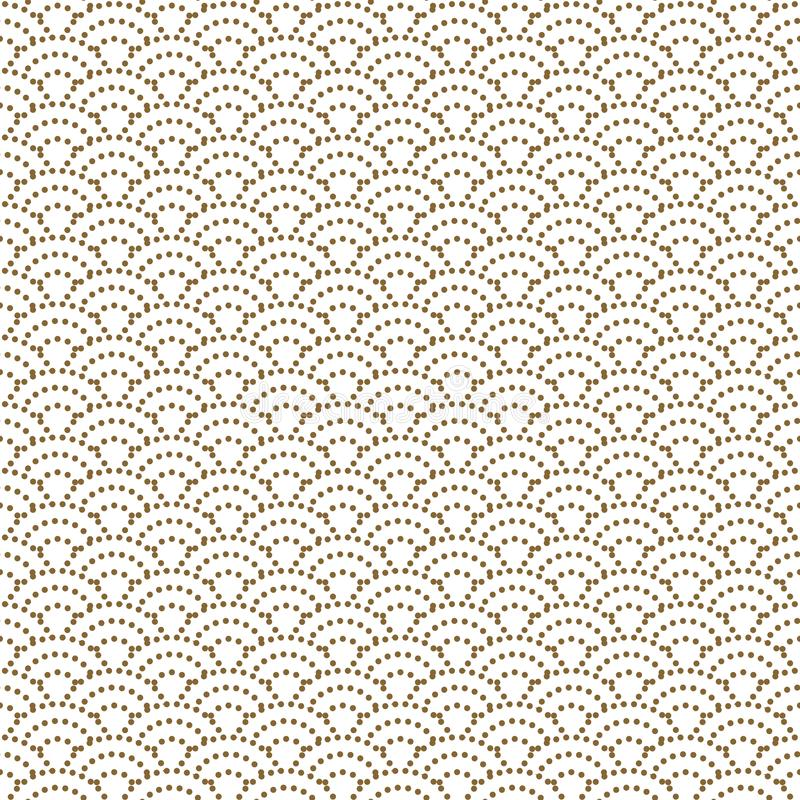 Japanese wave dotted traditional vector seamless pattern in gold line color style. Japan inspired floral design royalty free illustration