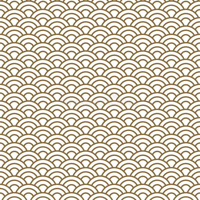 Japanese wave traditional vector seamless pattern in gold line color style. vector illustration