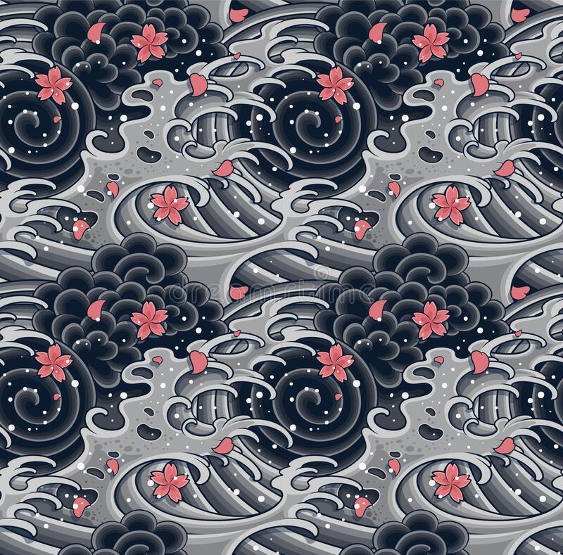 Free Japanese Wave With Sakura Seamless Pattern For Textile, Background, Garments Or Wallpaper Royalty Free Stock Photography - 209544047